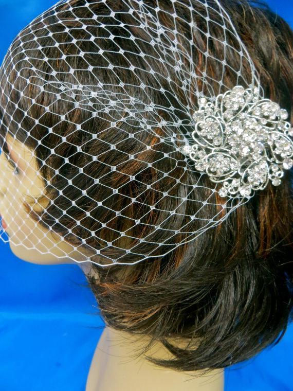 زفاف - Bandeau Birdcage Veil, Wedding Blusher Veil, Rhinestone Bridal Veil, White Bridal Veil, Ivory Bridal Veil, White Wedding Veil