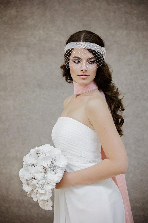 زفاف - Birdcage Veil - Ivory Birdcage Veil - Bridal Birdcage Veil - Wedding Birdcage - the Beatrice Blush Birdcage veil style # 102