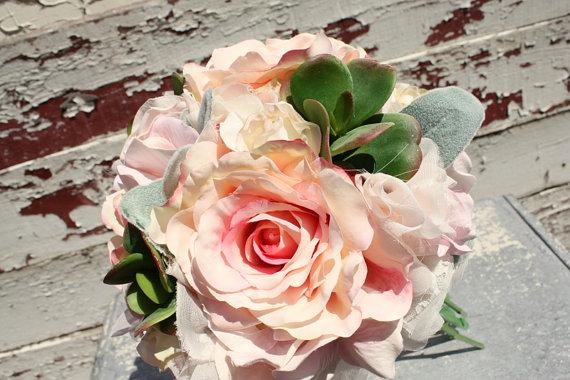"""زفاف - 6"""" Succulent bouquet, blush pink silk flower and succulent wedding bouquet, blush bridal bouquet, keepsake bouquet"""