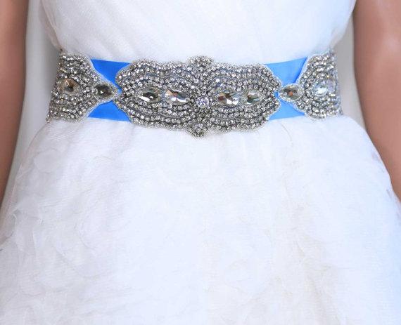 Wedding - Sales - Satin/organza Marquise Bridal Sash,Wedding Belt,Rhinestone Crystal,Rhinestone Sash, Rhinestone Sash,Vintage Dress Sash, Wedding Belt