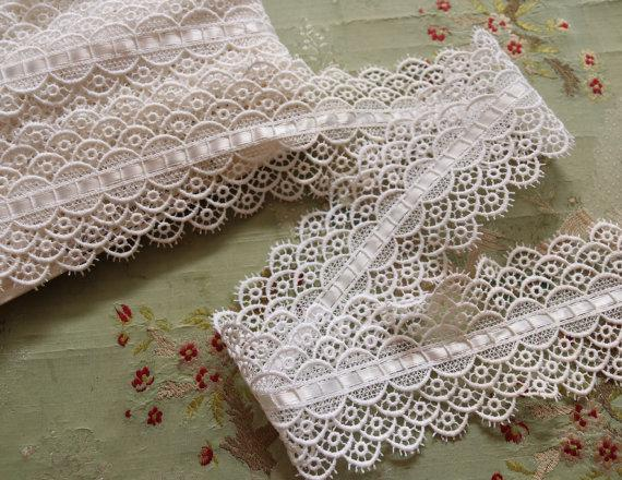 Wedding - 1 yard  vintage cotton schiffli lace trim wedding lace trim flowers wide lingerie dress projects sewing France Emil Katz bride bridal