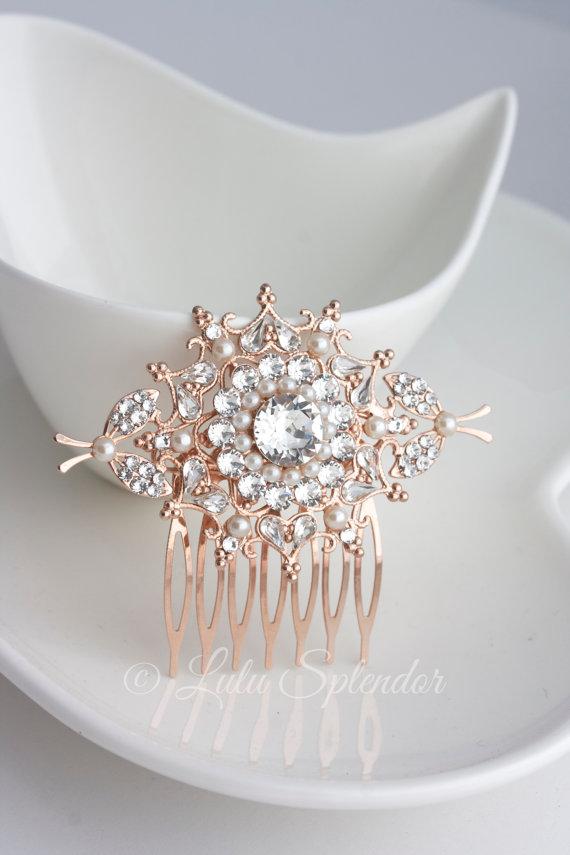 Mariage - Rose Gold Wedding Hair Comb Crystal Hair Clip Swarovski Crystal Pearl Bridal Hair Comb Handmade Wedding Hair Accessories KIRRIE