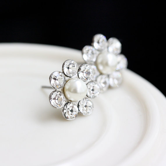 Свадьба - Bridal Earrings Stud Post Earrings Small Wedding Earrings Simple Crystal Pearl  Flower STUDS