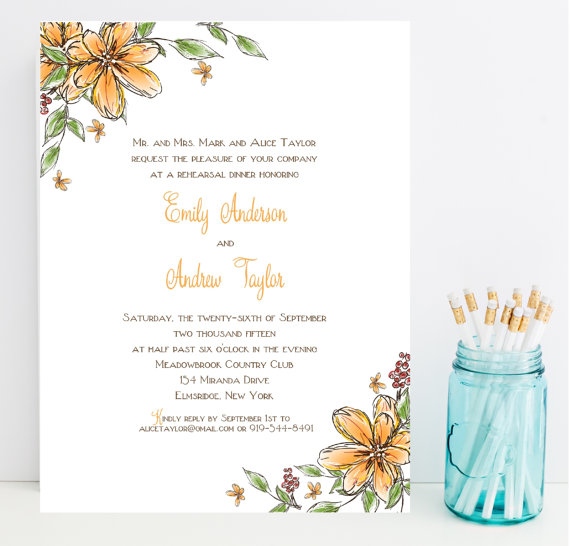 Mariage - 10 Orange Wedding Rehearsal Dinner Invitations - Flower, Floral