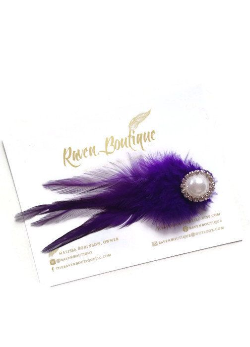 Свадьба - 20s Burlesque Flapper Purple Clip Feather Pearl Rhinestone Fascinator Hair Headpiece -Flower Girl Baby Girl Toddler Child Bridal Pin Up Gift