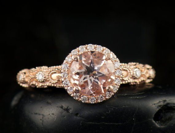 Mariage - Ashlyn, Morganite and Rose Gold Engagement Ring (Round Halo with Filigree)