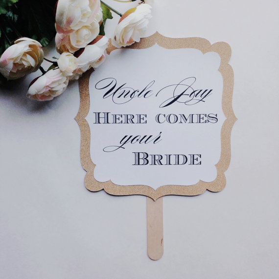 Mariage - Here Comes The Bride Paddle Sign