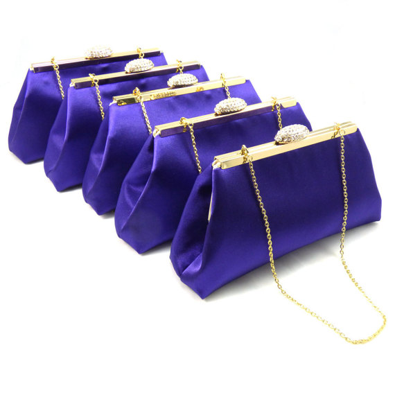 Свадьба - Set Of Five Bridesmaid Clutches 5% Off! Regal Purple and Gold Flake Bridesmaid Gift, Bridal Clutch, Wedding Clutch, Mother Of The Bride Gift