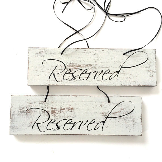 Reserved Sign Seating Wedding Signs