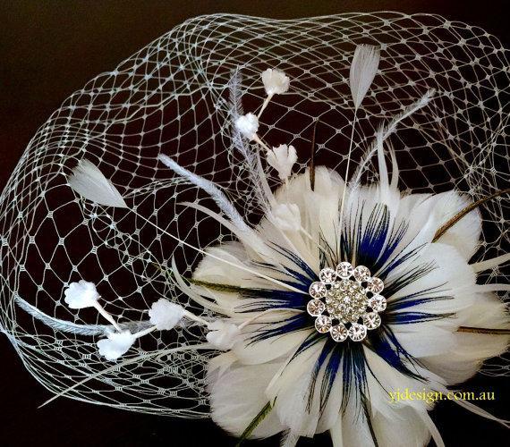 Mariage - Fascinator Veil Set, Something Blue Headpiece, Floral Bridal Fascinator, Peacock Feather Flower, Birdcage Veil, ART VIVA