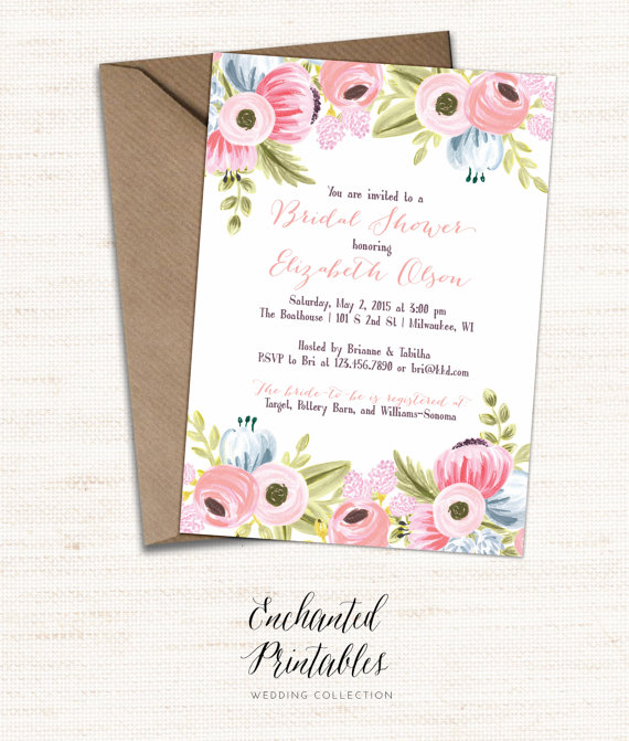Printable Bridal Shower Invitation, Printable Rustic Bridal Shower Invite,  Vintage Floral Invitation, Watercolor Floral Invitation, Wedding