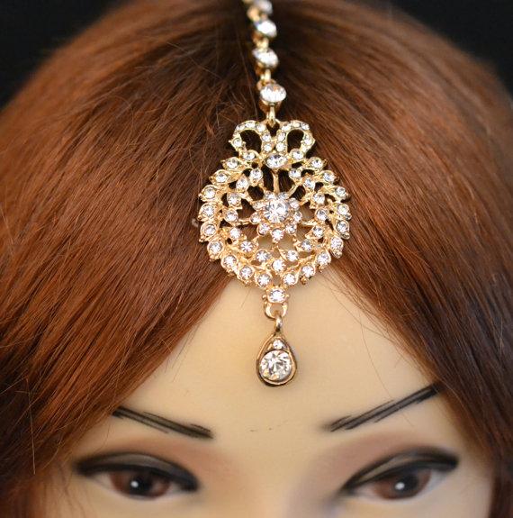 Свадьба - Gold Crystal Indian Matha Patti Tikka Head Chain Jewelry Bridal Wedding Prom