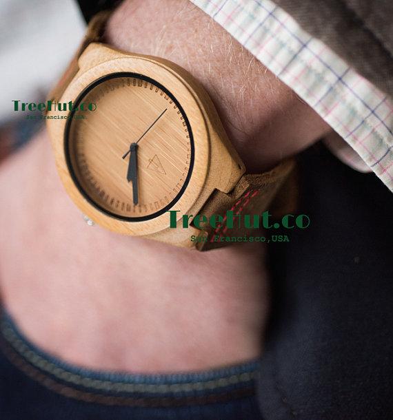 Hochzeit - Wood Watch, Groomsmen gift, Wedding Gift, Fathers Day Gifts, Anniversary Gifts for Men Wooden Watch HUT007