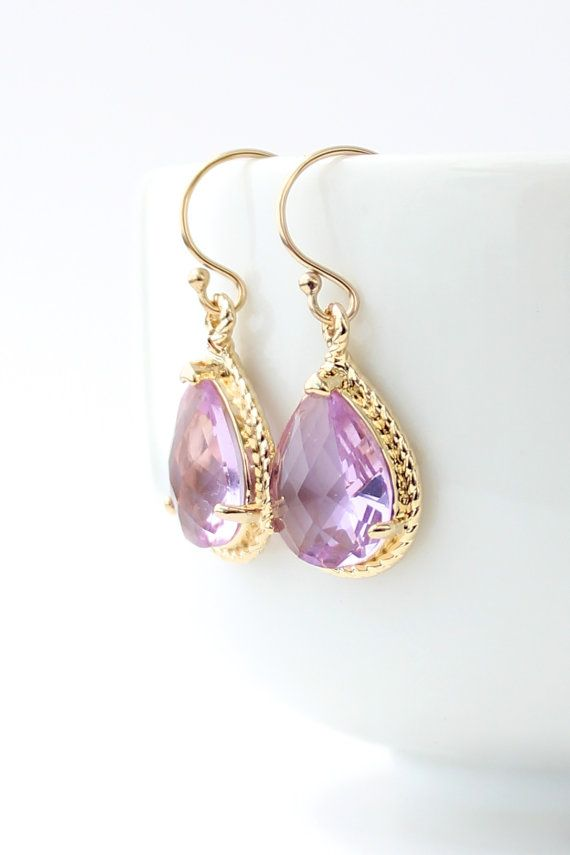 Lavender Purple Gold Earrings Bridesmaid Jewelry Gift Er1
