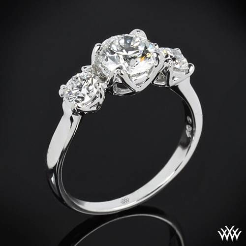 "Mariage - 18k White Gold ""W-Prong"" 3 Stone Engagement Ring (Setting Only)"