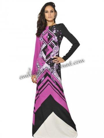 Wedding - EMILIO PUCCI Crepe De Chine Long Dress Purple Printed