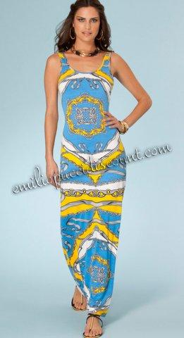 Wedding - Emilio Pucci Blue Be Iconic Rayon Tank Maxi Dress Cheap