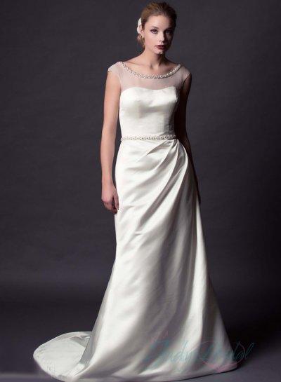 Sheer Top Satin Wedding Dress