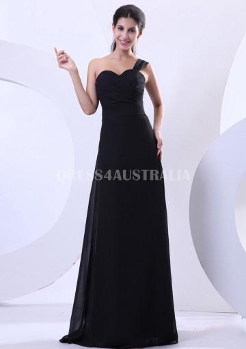 Hochzeit - Buy Australia A-line Empire Ruched Top One-shoulder Black Chiffon Floor Length Bridesmaid Dresses 8132220 at AU$123.42 - Dress4Australia.com.au