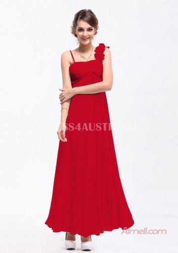 Wedding - Buy Australia A-line Empire One-shoulder Ruby Chiffon Floor Length Bridesmaid Dresses/ Prom Dresses 8132225 at AU$123.42 - Dress4Australia.com.au