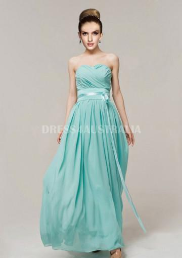 زفاف - Buy Australia A-line Empire Strapless Blue Chiffon Floor Length Bridesmaid Dresses 8132228 at AU$122.30 - Dress4Australia.com.au