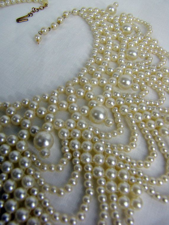 d179465cea4d7b Ivory White Vintage 1960s Beaded Collar Necklace #2303343 - Weddbook