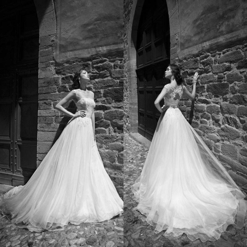 Wedding - 2015 New Arrival A Line Wedding Dresses Alessandra Rinaudo Sheer Illusion Back Hollow Chapel Train Organza Lace Bridal Gowns Wedding Ball Online with $129.06/Piece on Hjklp88's Store