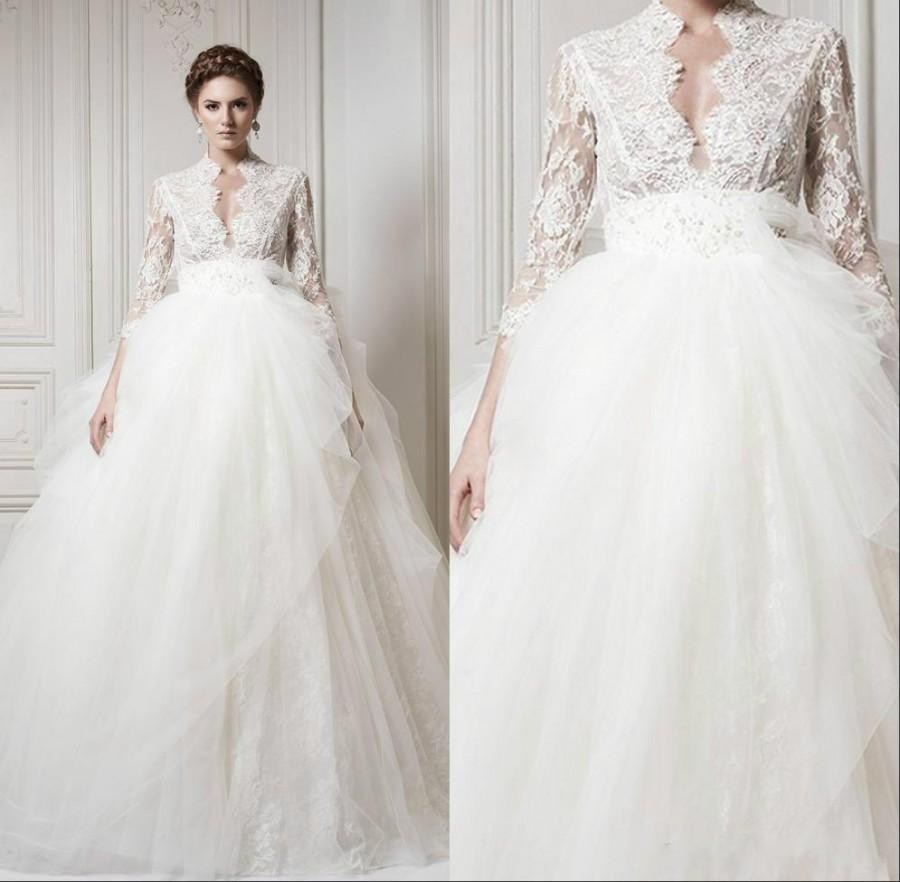 2015 wedding dresses with 3 4 long sleeve lace 2015 sheer for Tulle wedding dress with sleeves