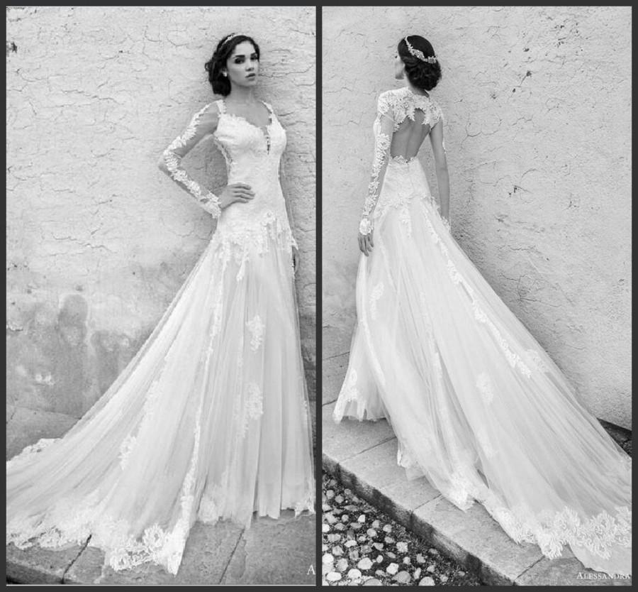Sexy long sleeve wedding dresses 2015 alessandra rinaudo v for V neck long sleeve wedding dress