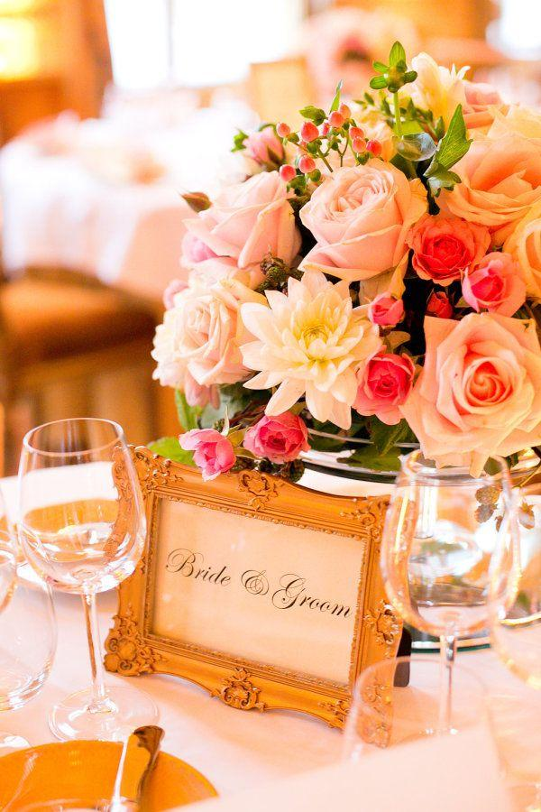Mariage - Gold And Pink Centerpiece