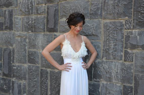 Mariage - Romantic wedding dress deep V neck  with ruffles cut edges ,lace wedding dress, boho wedding dress,simple wedding dress