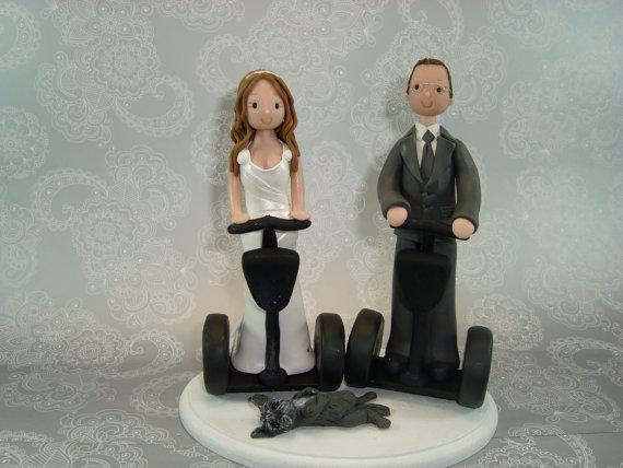 زفاف - Bride & Groom on Segway Custom Made Wedding Cake Topper