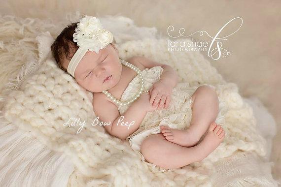 زفاف - Baby Girl Headband-Newborn Headband-Ivory Headband-Preemie-Infant-Baby Baptism Headband-Child-Toddler-Wedding Headband-Baby Headband-Vintage