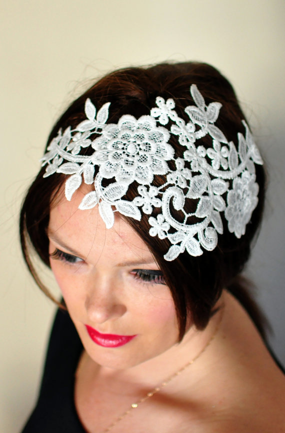Свадьба - Lace Headband Ivory Headwrap Wedding Bridal Hair Band Vintage Head wrap Romantic Girly Flowers Laces Mothers Day Gift