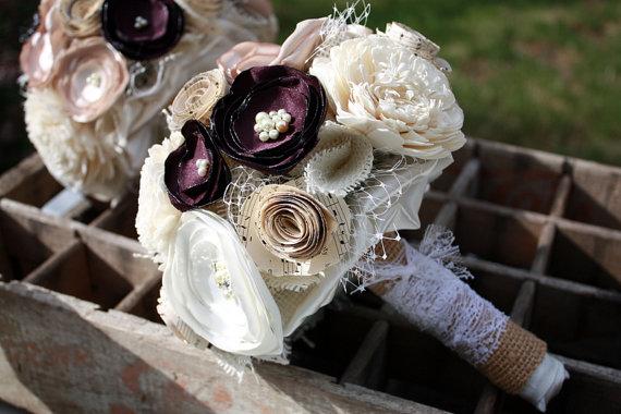 """زفاف - Champagne and eggplant wedding bouquet, 6"""" Custom Fabric flower and vintage sheet music bouquet"""