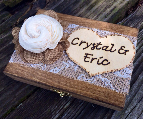Wedding - Shabby Chic Ring Bearer Box - Rustic Wedding Decor - Ring Bearer Pillow Alternative - Personalized Ring Box