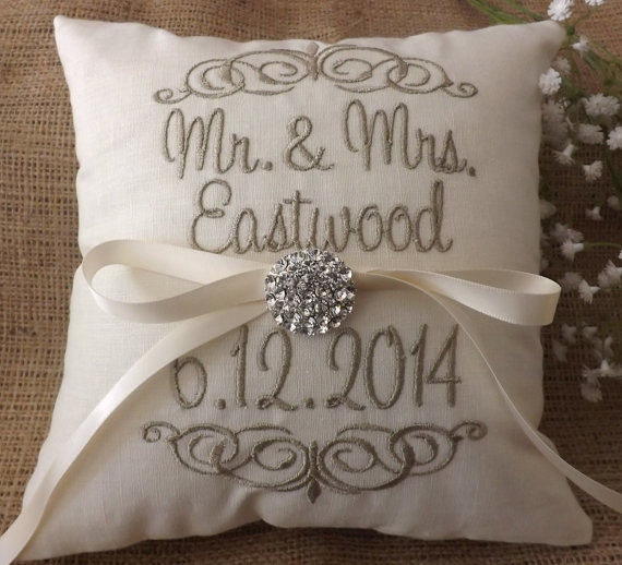Wedding - Ring Bearer Pillow, Mr & Mrs. Ring Pillow, wedding pillow, embroidery, monogram, custom. personalized, ring bearer pillows