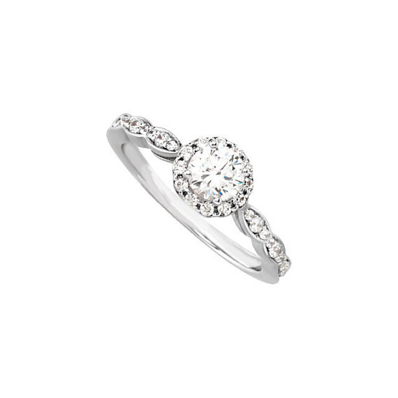 "زفاف - Vintage Style Diamond Halo Engagement Ring - ""The Lacey"" Unique Custom Wedding Ring"