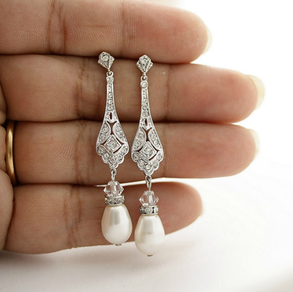 Silver Wedding Earrings Vintage Style Wedding Earrings Bridal