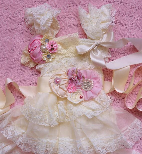 Mariage - pink ivory lace dress sash headband SET,lace girl Dress,baby dress,Flower girl dress,First 1st Birthday Dress, girls photo outfit