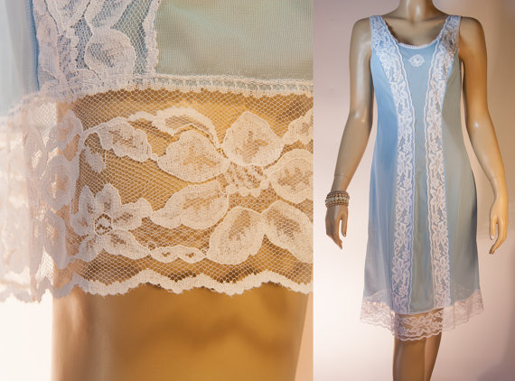 Hochzeit - Delightful 1960's vintage silky soft sheer sky blue Perlon and contrasting see through white lace detail full slip petticoat - 2764