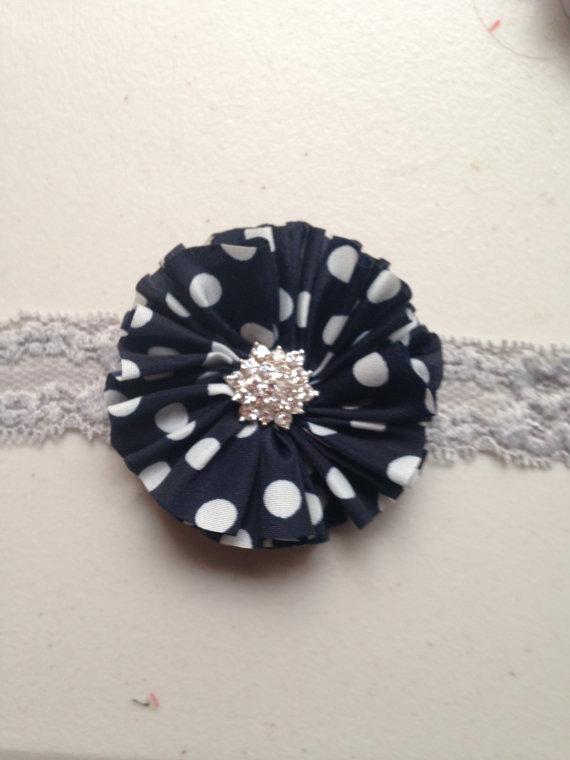 Hochzeit - Grey navy headband navy polka dot Chiffon Flower grey 1 inch Lace Elastic Headband baby toddler child teen infant wedding flower girl gift