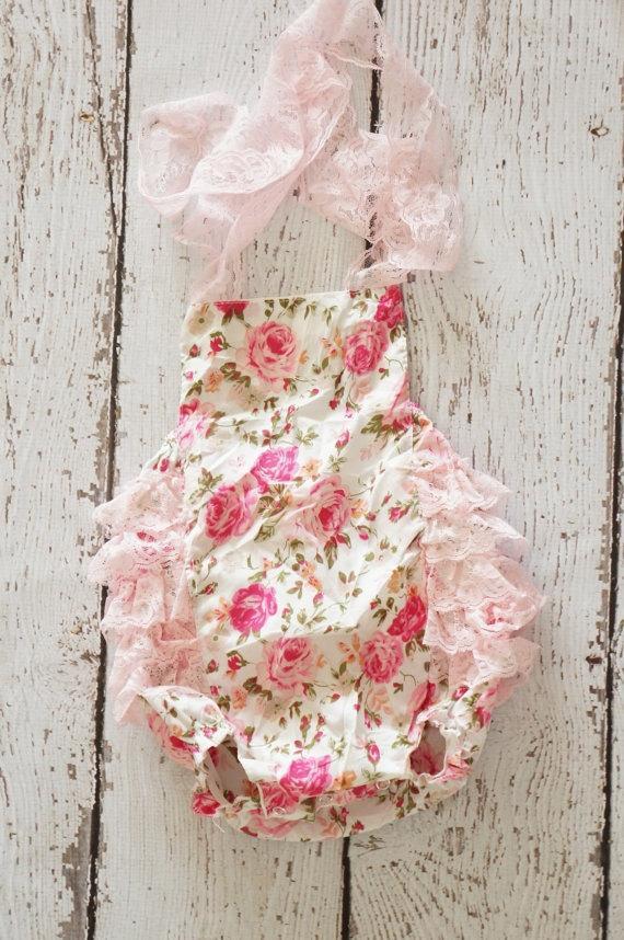 Mariage - Pink floral lace romper - vintage lace dress - bridesmaid dress - flower girl dress