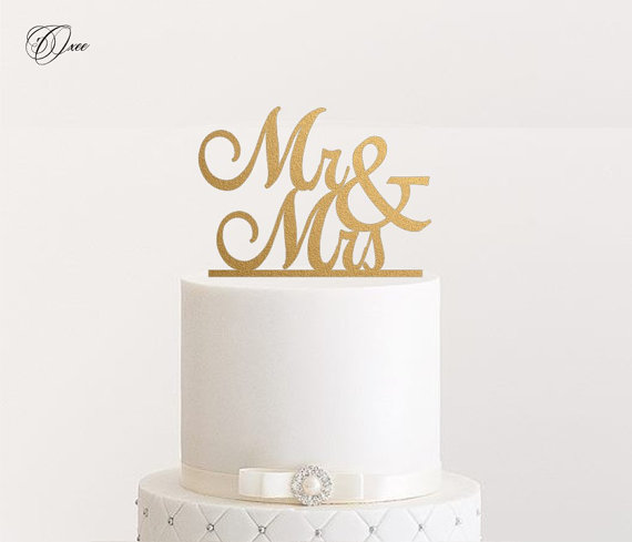 Mr And Mrs Wedding Cake Topper By Oxee Metallic Gold Silver Personalized Toppers