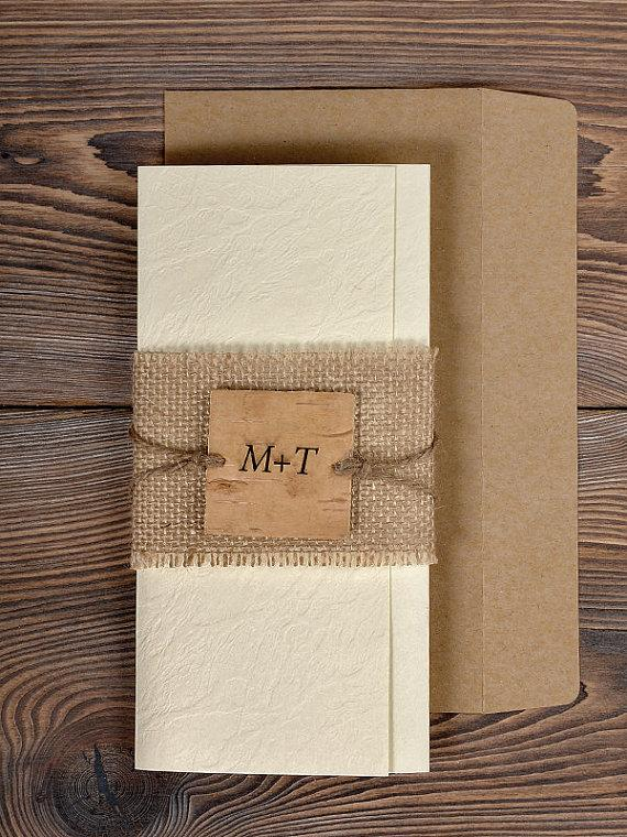 Wedding - Custom listing (100) Natural Twine Wedding Invitation, Country Style  Wedding Invitations, Burlap Wedding Invitation, Rustic Invitation Card