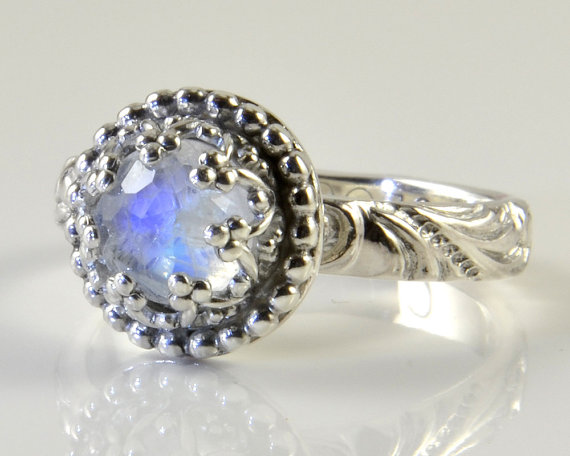 Свадьба - Moonstone Ring, Rainbow Moonstone Ring in Sterling Silver, Faceted Romantic Gemstone, Engagement, Stacking Ring