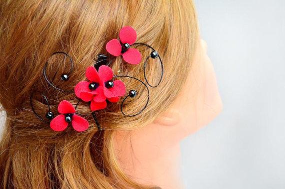 زفاف - Black and red hair comb Floral headpiece  Red and black wedding Bridesmaid headpiece Wedding hair accessories Bridesmaid hair accessories