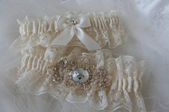Hochzeit - Wedding Garter Set,Ivory Chantilly Lace With Champagne Chiffon Applique