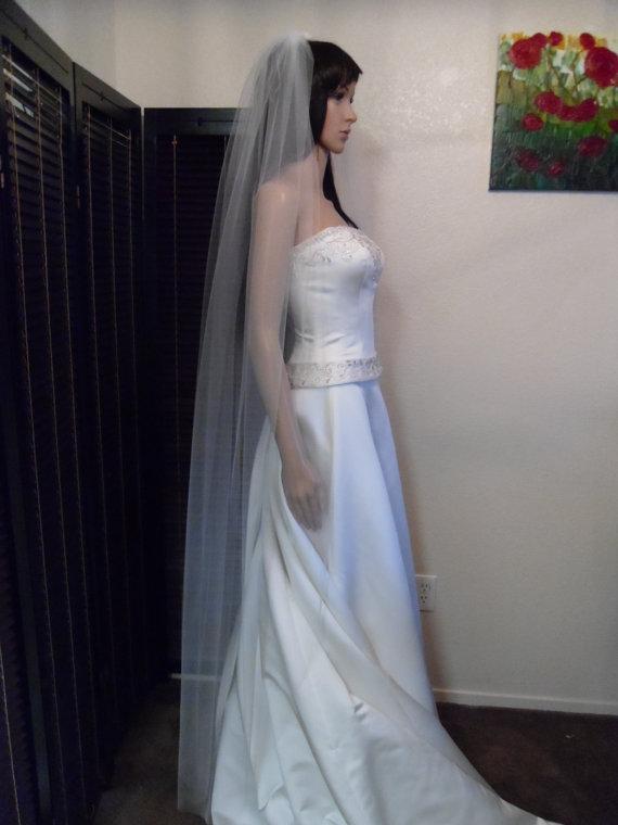 Свадьба - Floor Wedding Veil Single Tier Medium Fullness Classic and Elegant Cut Edge CE70X90