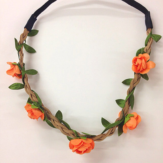 Mini orange flower crown headband for music festival  wedding accessory    stretch headband  halo    Coachella  hippie flower headband   ee3366ba978